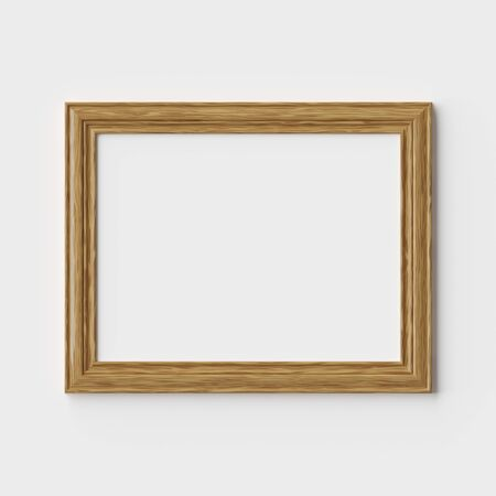 Wooden blank picture or photo frame on white wall with shadows, decorative wooden picture frame template, art frame mock-up 3D illustration