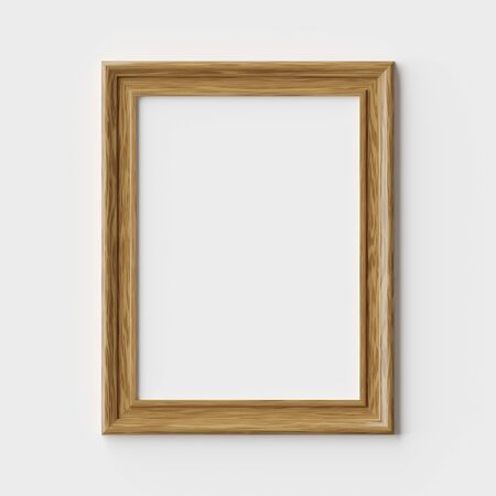 Wood blank picture or photo frame on white wall with shadows, decorative wooden picture frame template, art frame mock-up 3D illustration