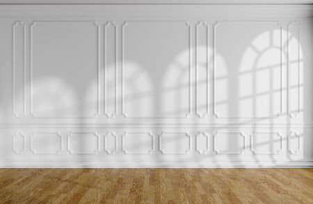 White empty room interior with sunlight from rounded windows, white decorative classic style molding frames on walls, wooden parquet floor and white baseboard, 3d illustration