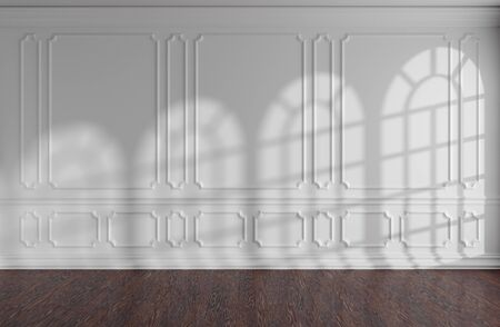 White empty room wall interior with sunlight from rounded windows, decorative classic style molding frames on walls, dark wooden parquet floor and white baseboard, 3d illustration 版權商用圖片