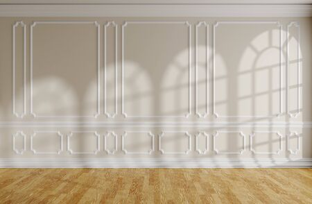 Empty room with sunlight from rounded windows on beige wall with white decorative classic style molding frames, wooden parquet floor and white baseboard, 3d interior illustration