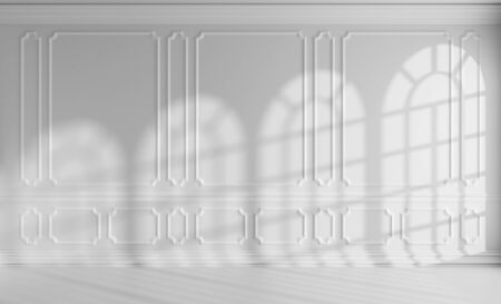 Simple white room interior with sunlight from rounded windows, with white decorative classic style molding frames on walls, with flat ceiling, floor and baseboard, 3d illustration