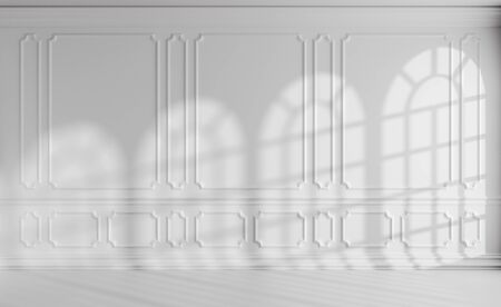 White colorless room interior with sunlight from rounded windows, with white decorative classic style molding frames on walls, with flat ceiling, floor and baseboard, 3d illustration mock-up