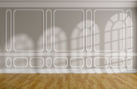 Empty room with sunlight from rounded windows on gray wall with white decorative classic style molding frames, wooden parquet floor and white baseboard, 3d interior illustration