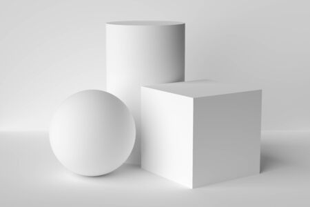 Abstract geometric platonic solids figures still life composition. Three-dimensional cube cylinder sphere white objects with shadows on white background. Simple 3d render illustration.
