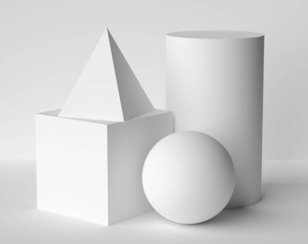 Abstract geometric platonic solids figures still life composition. Three-dimensional pyramid cube cylinder sphere white objects with shadows on white background. Simple 3d render illustration 写真素材