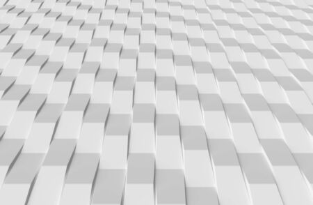 White geometric decorative bricks abstract texture background with light and shadows, perspective view. 3D illustration can be used in design and website background Stock fotó