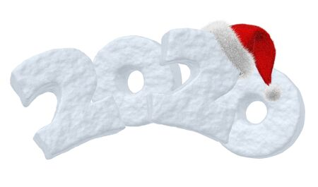 Happy New Year 2020 sign text written with numbers made of snow with Santa Claus fluffy red hat, winter snow symbols 3d illustration isolated on white Banco de Imagens