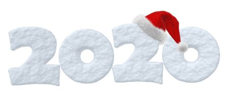 2020 Happy New Year sign text written with numbers made of snow with Santa Claus fluffy red hat, winter snow symbols 3d illustration isolated on white