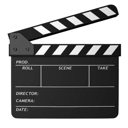 Aprire il ciak nero film isolato su sfondo bianco. Cinema, cinema, attrezzature per l'industria cinematografica. illustrazione 3D. Archivio Fotografico