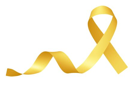 Ruban jaune Symbole de la Journée internationale de sensibilisation au cancer chez les enfants isolé sur une campagne de sensibilisation blanche au mois de février, illustration 3D de l'élément de conception. Banque d'images