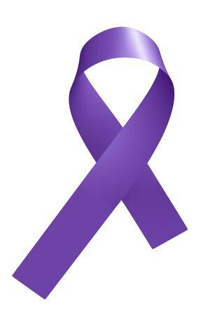 Cinta púrpura aislada sobre fondo blanco Símbolo de conciencia de epilepsia del día púrpura de apoyo a la epilepsia en todo el mundo, ilustración 3D del día internacional de solidaridad con la epilepsia