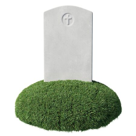 Gray blank gravestone on green grass islet under bright sunlight isolated on white background close-up, memorial day sign, 3D illustration