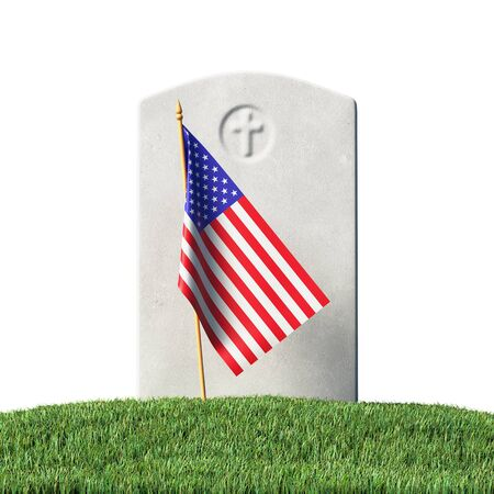 Gray blank gravestone and small American flag on green grass field in memorial day under sun light isolated on white background, Memorial Day concept 3D illustration