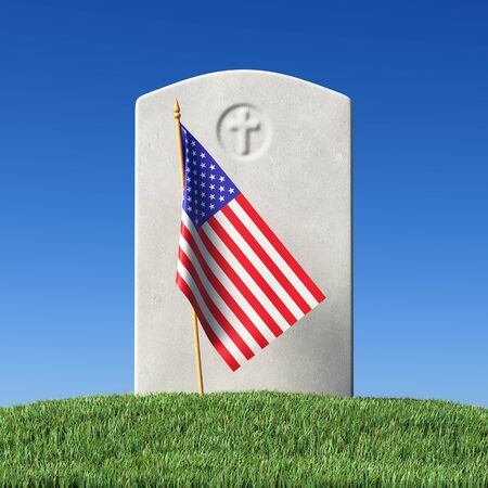 Gray blank gravestone and small American flag on green grass field in memorial day under sun light under clear blue sky, Memorial Day concept 3D illustration
