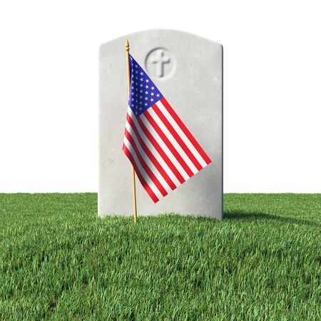 Small American flag and gray blank headstone on green grass field in memorial day under sun light isolated on white background, Memorial Day concept 3D illustration Stock Photo