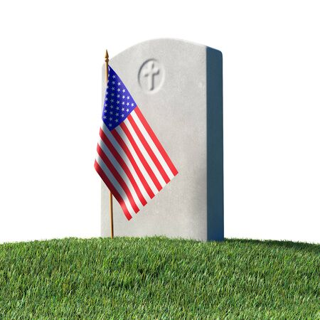 Gray blank headstone and small American flag on green grass field in memorial day under sun light isolated on white background, Memorial Day concept 3D illustration