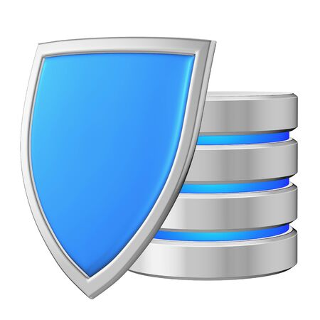 Database behind metal blue shield on left protected from unauthorized access, data protection concept, 3d illustration icon isolated on white background for Data Protection Day Archivio Fotografico