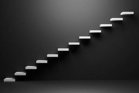 Escaleras ascendentes blancas de la escalera ascendente que va hacia arriba en la habitación vacía negra, ilustración abstracta en 3D. Crecimiento empresarial, camino de progreso y logro futuro en el oscuro concepto creativo.