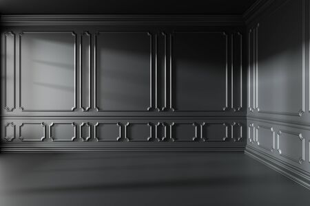 Empty black room interior with sun light from window with black decorative classic style molding frames on walls, with flat floor, baseboard and ceiling, 3d illustration Foto de archivo