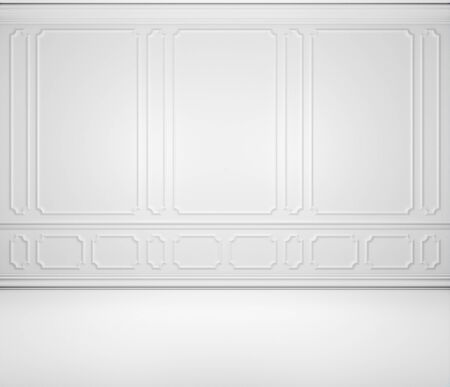 Simple empty white room wall background with white decorative molding on wall in classic style, with flat floor and baseboard. Classic style colorless interior background, 3d illustration. Standard-Bild