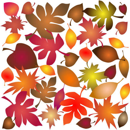 Mosaic pattern from autumn leaves made in vector
