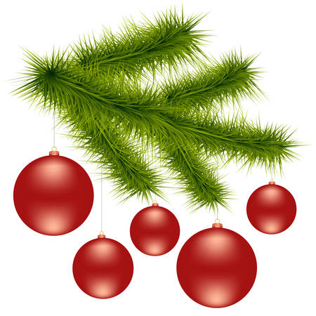 Christmas red balls on the green branch Ilustrace