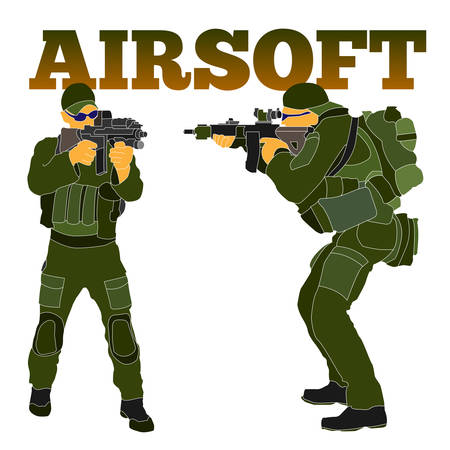 Armed airsoft shooter military in tactical equipment preparing to train with an automatic rifle. Will be used as branding logo, web element, poster, postcard. Vectores