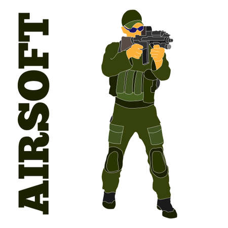 Armed airsoft shooter military in tactical equipment preparing to train with an automatic rifle. Will be used as branding logo, web element, poster, postcard. Çizim