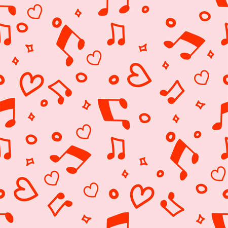 Happy Valentiness Say simple hand drawned seamless pattern with hearts and musical notes. Will be perfect for wrapped paper, textile, fabric.