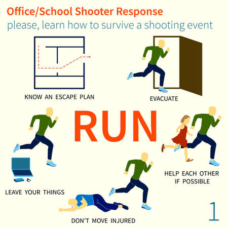 Office and School shooter response, short and helpful graphic information illustration. Ilustração