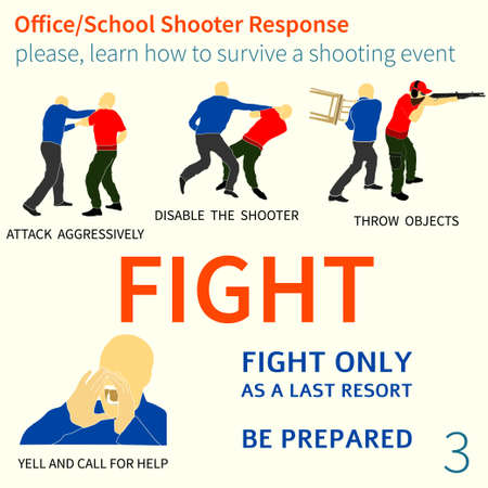 Office and School shooter response, short and helpful graphic information vector illustration set.