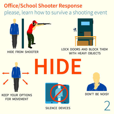 Office and School shooter response short and helpfull advices vector illustration set. Will be used for logo, banner, poster, postcard.