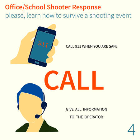 Office and School shooter response short and helpfull advices vector illustration set.