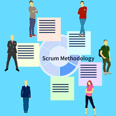 Scrum team project development method process with sprint time and product release flat vector illustration. Will be use for banner, poster, web design Illustration