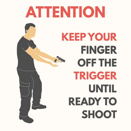 Practical shooting safety rules. Will be perfect for logo, banner, poster, postcard. 向量圖像