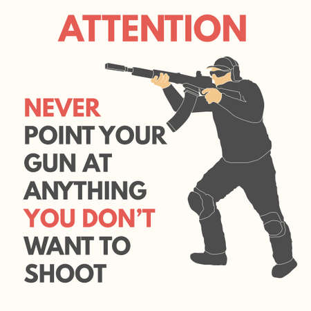 Practical shooting safety rules vector illustration will be use for web, textile, banners, tickets, postcards. 向量圖像