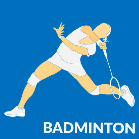 Badminton workout flat vector illustration. Will be use for banner, textile, poster, web. 向量圖像