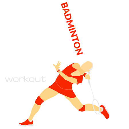 Badminton workout flat vector illustration. Will be use for banner, textile, poster, web. Stock Illustratie