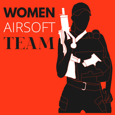 Practical shooting woman holding the rifle. Will be perfect for logo, banner, poster, postcard. Stock Illustratie