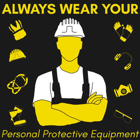 Dispositivi di protezione individuale e set di abbigliamento. Sarà utilizzato per poster, cartelloni e cartoline per la sicurezza e la salute sul lavoro.