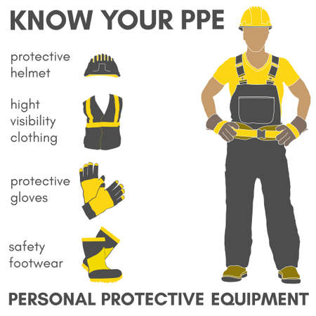 Personal Protective Equipment and Wear set. Will be use for Occupational Safety and Healthposter, sign and postcard.