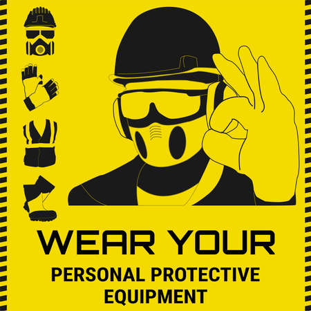 Personal Protective Equipment and Wear set. Will be use for Occupational Safety and Health poster, sign and postcard.