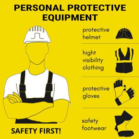 Persönliche Schutzausrüstung und Wear-Set. Wird für Poster, Schilder und Postkarten für Arbeitssicherheit und Gesundheitsschutz verwendet.