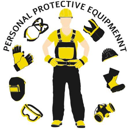 Dispositivi di protezione individuale e set di abbigliamento. Sarà utilizzato per poster, cartelloni e cartoline per la sicurezza e la salute sul lavoro Vettoriali