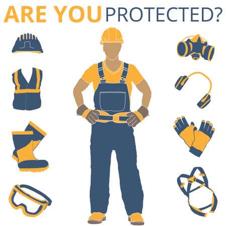 Dispositivi di protezione individuale e set di abbigliamento. Sarà utilizzato per poster, cartelloni e cartoline per la sicurezza e la salute sul lavoro