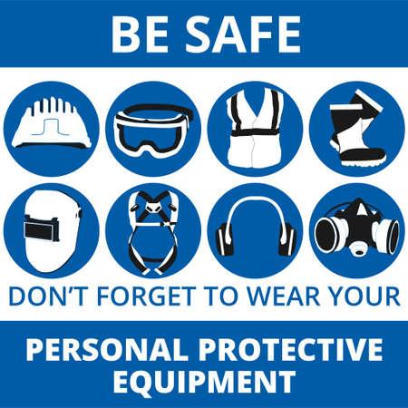 Persönliche Schutzausrüstung und Wear-Set. Wird für Poster, Schilder und Postkarten zum Arbeitsschutz verwendet Health