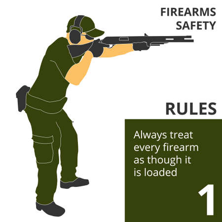 Vector illustration firearm shooting safety rules and signs. Will be perfect for logo, banner, poster, postcard. Illustration