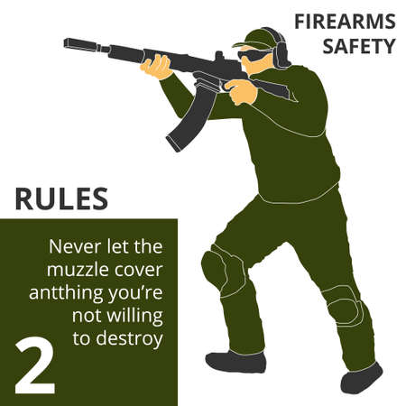 Vector illustration firearm shooting safety rules and signs. Will be perfect for logo, banner, poster, postcard. 向量圖像