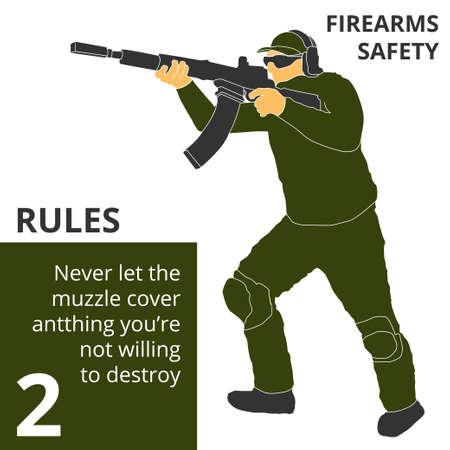 Wektor ilustracja strzelanie z broni palnej zasady bezpieczeństwa i znaki. Sprawdzi się idealnie na logo, baner, plakat, pocztówkę.